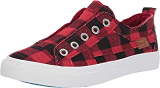 red plaid sneakers