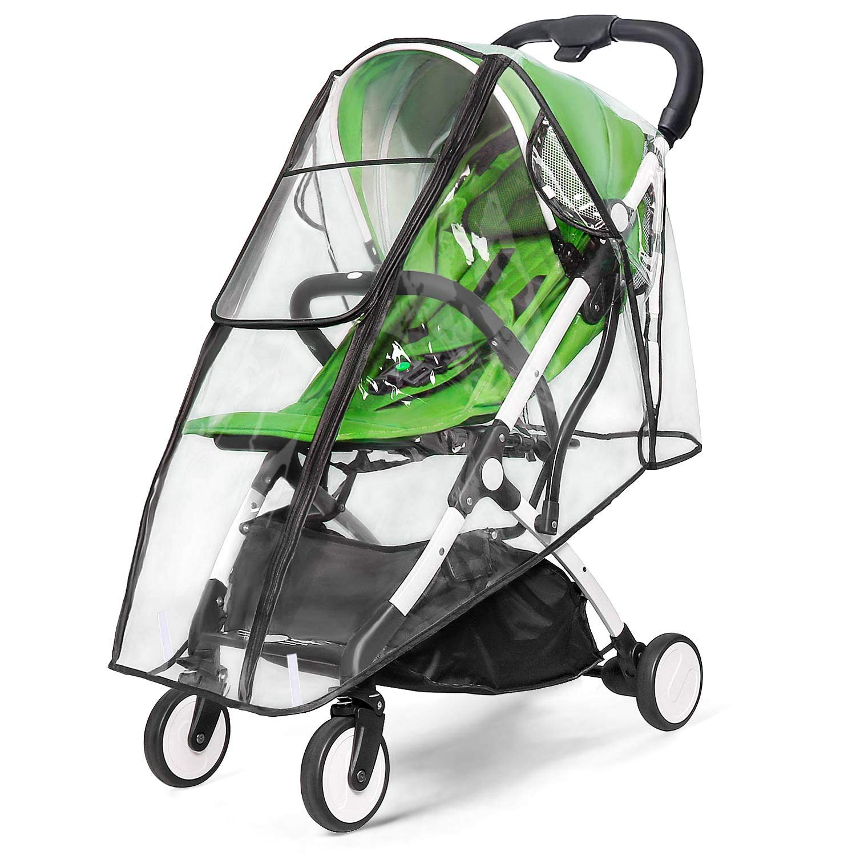 Universal Stroller Rain Cover, Double Door Design & Large Storage Baby Stroller Weather Shield, WaterproofStroller Cover, Food Grade EVA, Eye Protect (L)