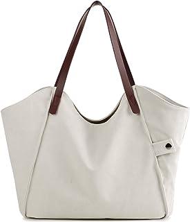 LOSMILE Mujer Bolsos de mano lona bolsos de hombro Bolsos totes Bolsos bandolera Shoppers Bolsa de playa. (Beige)