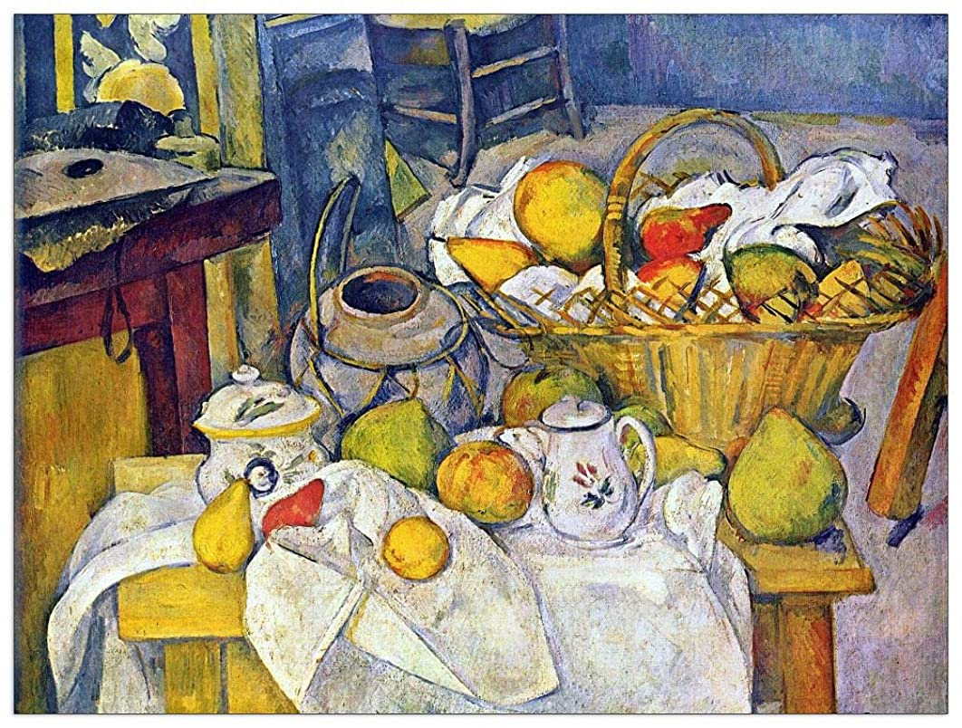 ArtPlaza TW92178 Cezanne Paul - Still Life with Fruit Basket Decorative Panel 35.5x27.5 Inch Multicolored