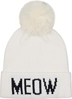 Hatphile Cat Lover Stretchy Meow Faux Fur Pompom Knit Beanie Skully Toque