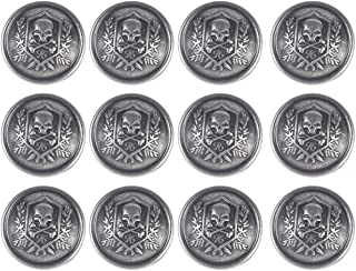 Tvoip 12Pcs Metal Buttons Domineering Skull Buttons Casual Suit Windbreaker Casual 25mm Button