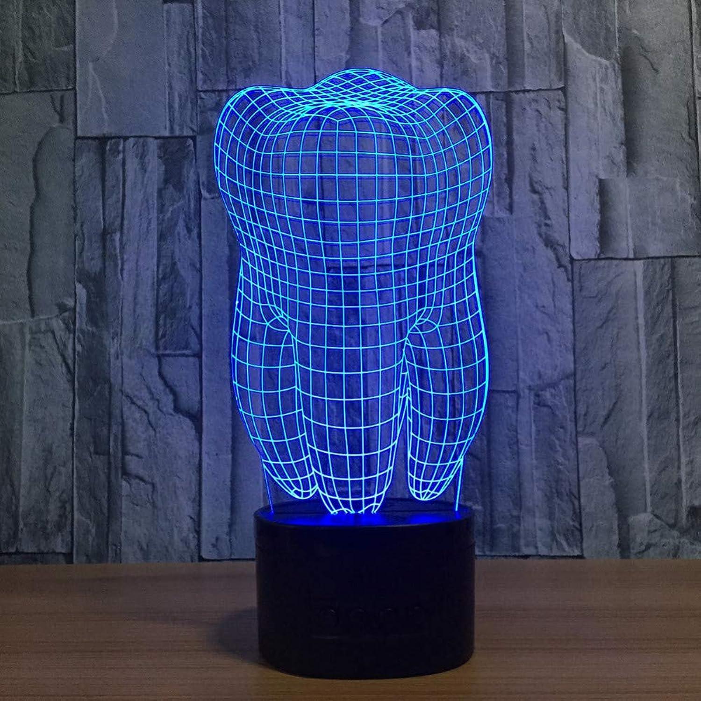 Laofan 3D Zhne Zhne USB Lampe 3D Nachtlicht Bunte Kinder Spielzeug Schlafzimmer Atmosphre Schreibtisch Tischlampe,Fernbedienung