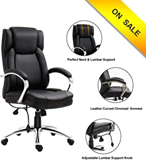 High Back Pu Leather Executive Office Chair- Ergonomic Office Chairs/Adjustable Tilt Angle and Chromed Arms with Lumbar Support, Executive Office Chairs for Man and Women Office and PEXECL001 (Black)