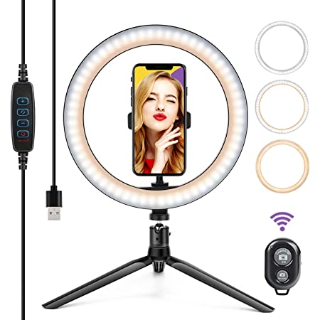 GSBLUNIE 10'' LED Ring Light,Selfie Ring Light with Tripod Stand & Phone Holder,3 Light Modes,11 Brightness Level,Led Camera Ringlight for Makeup,Live Stream,YouTube Video,Photography