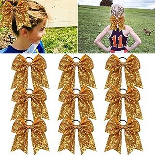 Large Glitter Cheer Bows Ponytail Holder Girls Yellow Gold Elastic Hair Ties 6