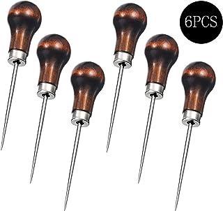 Sansheng 6PCS Wood Handle Cucurbit Leather Craft Cloth Wood Handle Scraping Taper Tool/Taper Tool Needle Punch Leather Bag Hole DIY Handmade