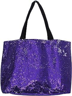 Purple : 2 Tone Sequin X-Large Reusable Shopping Market Tote Bag