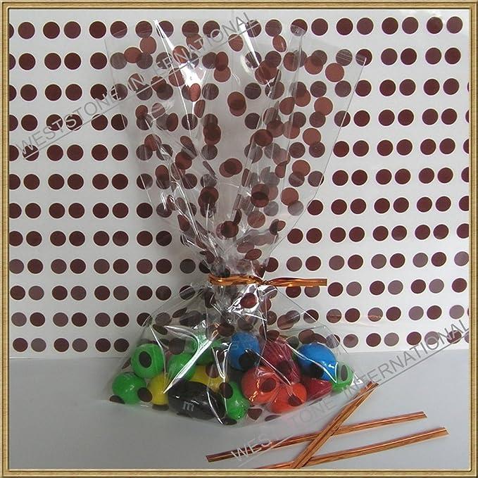 "twist ties 25pcs 4/""x6/"" Polka Dot Blue gift cello bag"