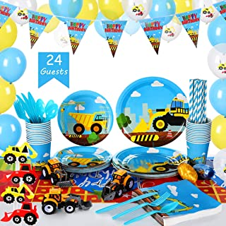 Construction Kids Birthday Party Supplies Set (over 260 pieces) - Serves 24 Guests – Includes Dump Truck Party Decorations, Disposable Dinnerware And Toys