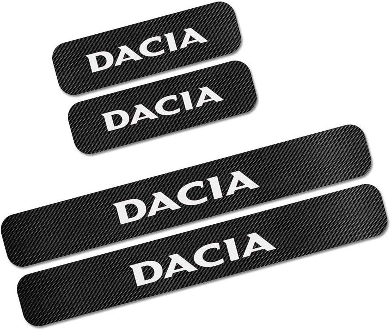 YDL Autocollants 4PCS Tuning Accessoires DACCESSOIRES DE Porte DE Voiture SURPORTS DE Plaque DE Plaque Auto Seuil Decorques pour Dacia Duster Logan Sandero Size : Dacia