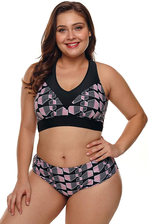 Women's Split Swimsuit Bikini Print Sling Cross Hollow Backless Low Waist Triangle Increase