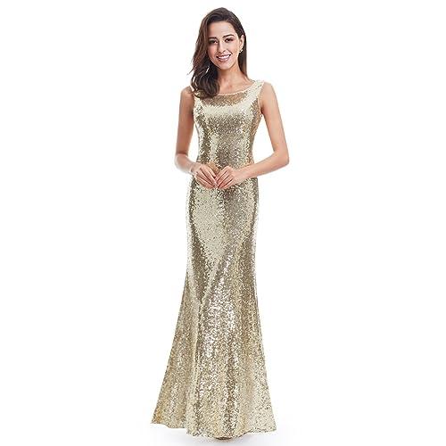 88a81dd766e3 Ever Pretty Back Cowl Neck Shine Sequin Sparkle Elegant Gold Evening Party  Gown 07110