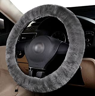 Zento Deals Soft Stretchable Sheepskin Grey Steering Wheel Cover Protector - A Must Have for All Car Owners for a More Comfortable Driving