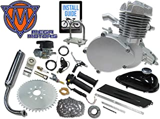 Mega Motors 66/80cc Silver Motorized Bicycle Kit – 2 Stroke Gas Powered Bike Motor Engine