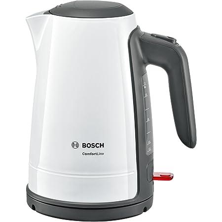 Bosch twk6a011Bouilloire Comfort Line, fonction de 1tasses, arrêt automatique–à vapeur, Filtre anti-calcaire entnehmen, 2400W, Blanc/Gris foncé