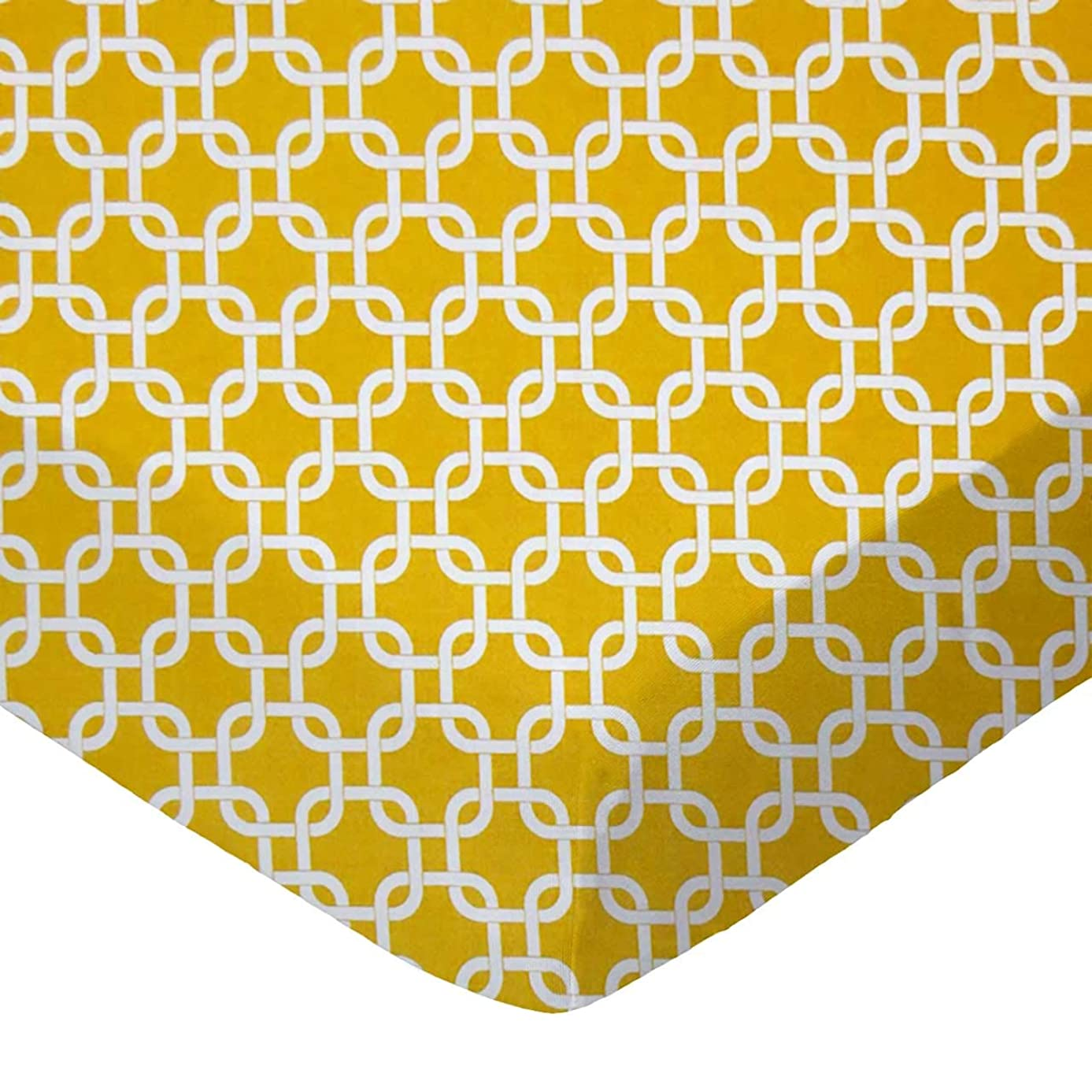 SheetWorld Fitted Crib / Toddler Sheet - Mustard Yellow Links - Made In USA