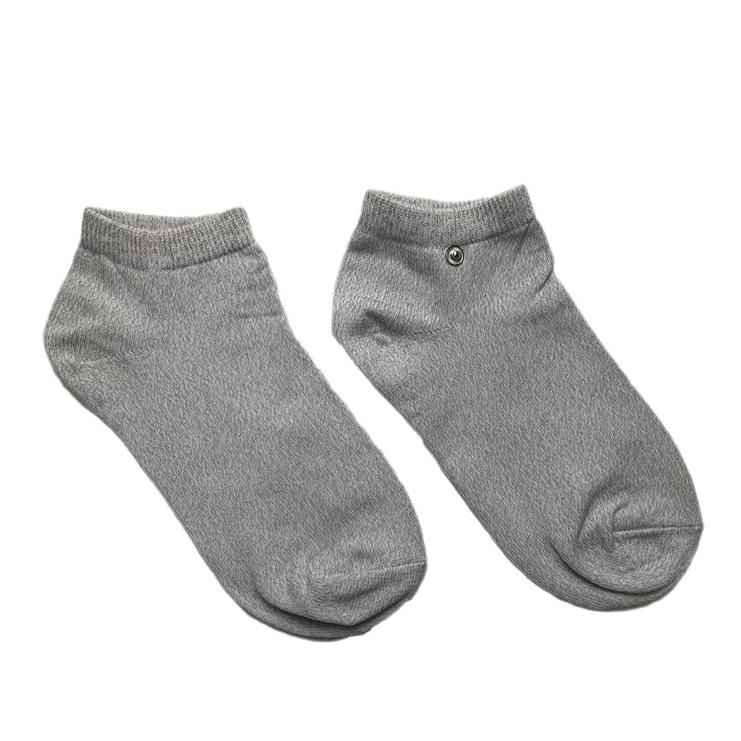 伴うバドミントンレザーriraku-life(??????) 大地と繋がるアーシング健康法用 アーシングソックス(low) 導電性靴下 (L)