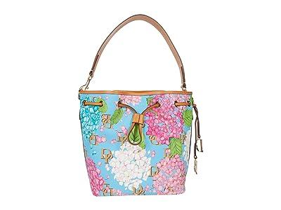 Dooney & Bourke Hydrangea Monogram Drawstring (Blue) Handbags