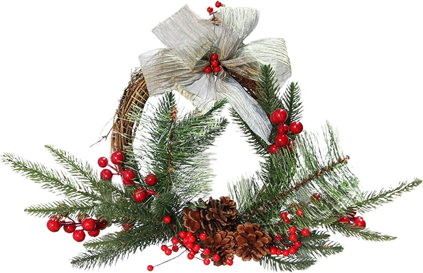 YLSZHY Corona de Navidad con bayas y cono de pino, corona de decoración de puerta frontal de pino artificial para decoración de interiores y exteriores navideñas