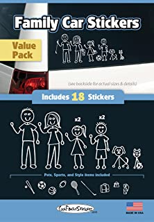 WMI Designs (12050) White Line Family Vinyl Stickers Compact Kit (18)