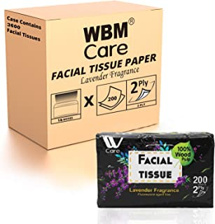 WBM Care Ultra Soft Facial Tissue with Lavender Fragrance, 200 Sheets/Box, Pack of 18