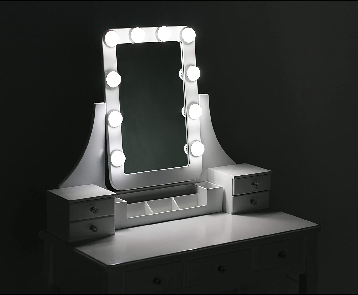 White Mupater Makeup Desk Vanity Set with Mirror Light and Bench Stool for Girls and Women Dressing Table with 7 Drawers and 10 LED Blubs