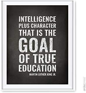 Andaz Press Teacher Appreciation Wall Art, Chalkboard Print, Intelligence plus character-that is the goal of true education, Martin Luther King Jr., 8.5x11-inch, 1-Pack, UNFRAMED