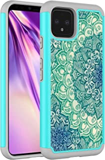 Google Pixel 4 Case, Onyxii Hybrid Dual Layer Graphic PU Leather Colorful TPU Fashion Protective Cover Armor Case for Google Pixel 4 (Green Mandala)