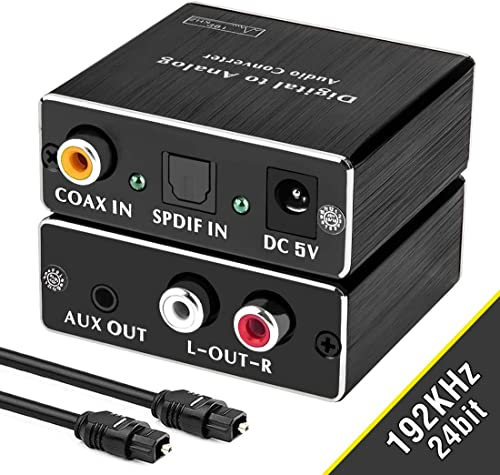 Digital-to-Analog Audio Converter, ROOFULL 192Khz DAC Digital Coaxial and Optical (Toslink/SPDIF) to Analog 3.5mm AUX and RCA (L/R) Stereo Audio Adapter DAC Converter with Fiber Cable product image