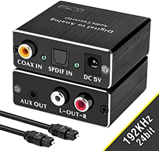 Digital-to-Analog Audio Converter, ROOFULL 192Khz DAC Digital Coaxial and Optical (Toslink/SPDIF) to Analog 3.5mm AUX and RCA (L/R) Stereo Audio Adapter DAC Converter with Fiber Cable