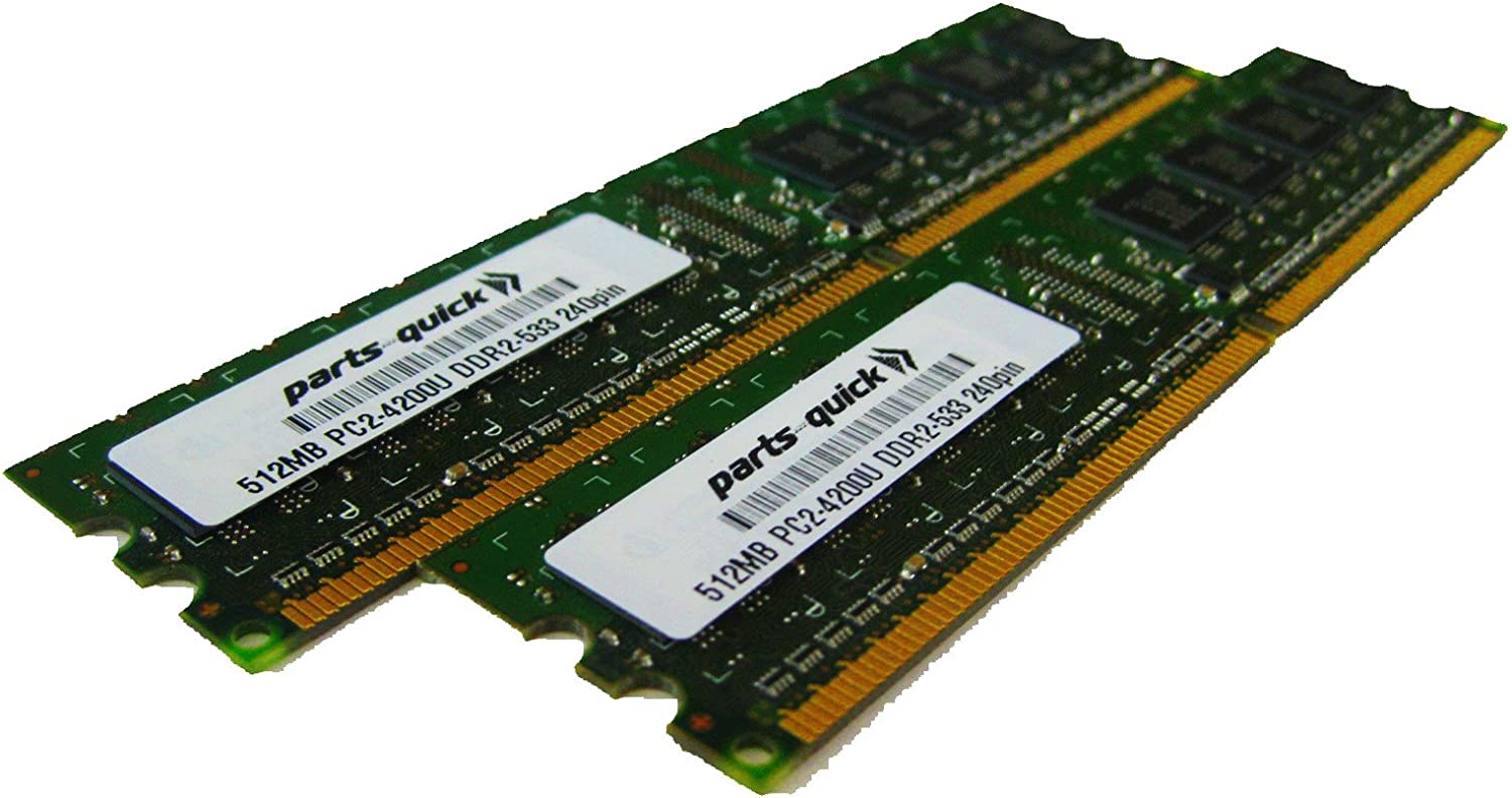 1GB Kit 2 X 512MB DDR2 Memory for Dell Dimension 9100 9150 Desktop PC2-4200 240 pin 533MHz DIMM RAM (PARTS-QUICK BRAND)