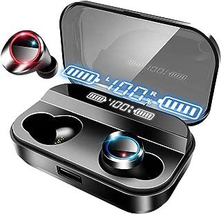 【最新版 LEDディスプレイ Bluetooth イヤホン 】ワイヤレス イヤホン 4000mAh 電池残量インジケーター付き イヤホン IPX7防水規格 Hi-Fi 高音質 AAC対応 最新Bluetooth 5.0 +EDR搭載 完全ワイヤレスイヤホン 左右分離型 ブルートゥース イヤホン 自動ペアリング 音量調節可能