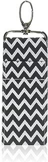 lip makeup bag for Lipstick or Lip Gloss,BLACK Wave pattern lipstick keychain,2 Pack Lip balm holder keychain