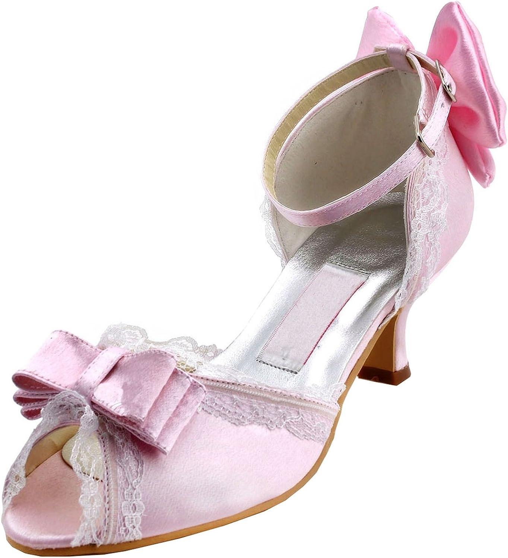 Minitoo Womens Round Toe High Heel Bowknot Lace Bridal Wedding shoes Pump