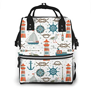 Nautical Elements Multi-Function Travel Backpack Nappy Bag,Fashion Mummy Bag