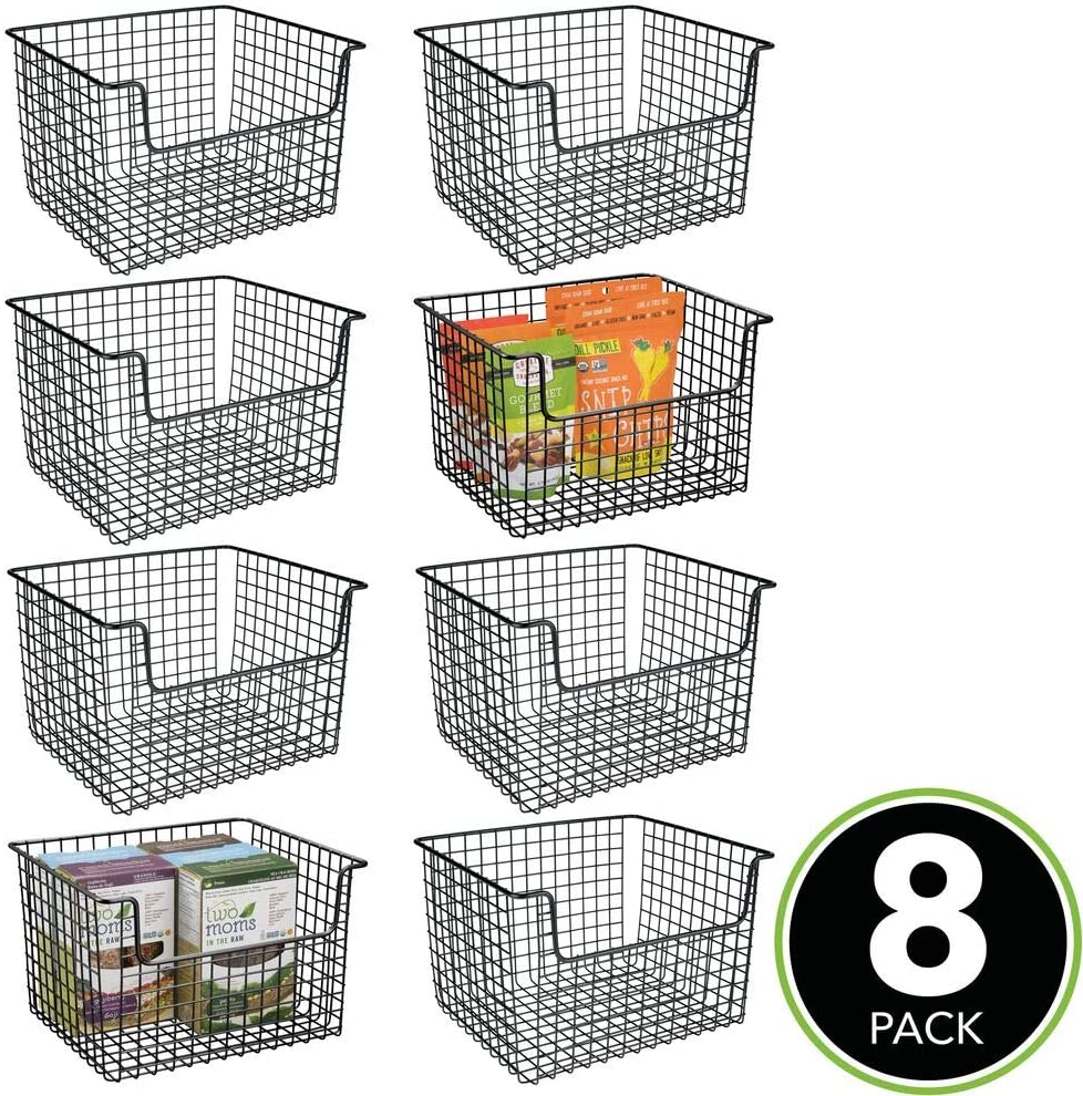 Buy Mdesign Metal Kitchen Pantry Food Storage Organizer Basket Farmhouse Grid Design With Open Front For Cabinets Cupboards Shelves Holds Potatoes Onions Fruit 8 Pack Black Online In Indonesia B081tjfls9