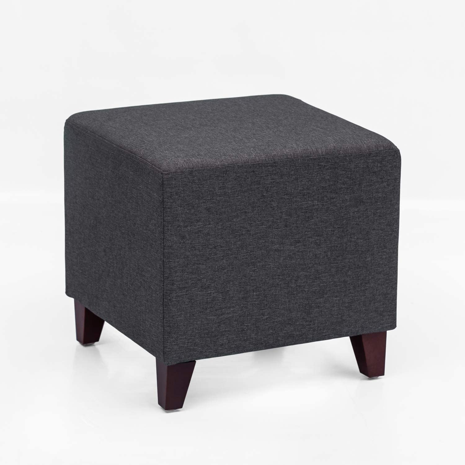 Homebeez Square Ottoman Footrest Stool, Small Fabric Cube Bench Seat with Wood Legs (Dark Grey)