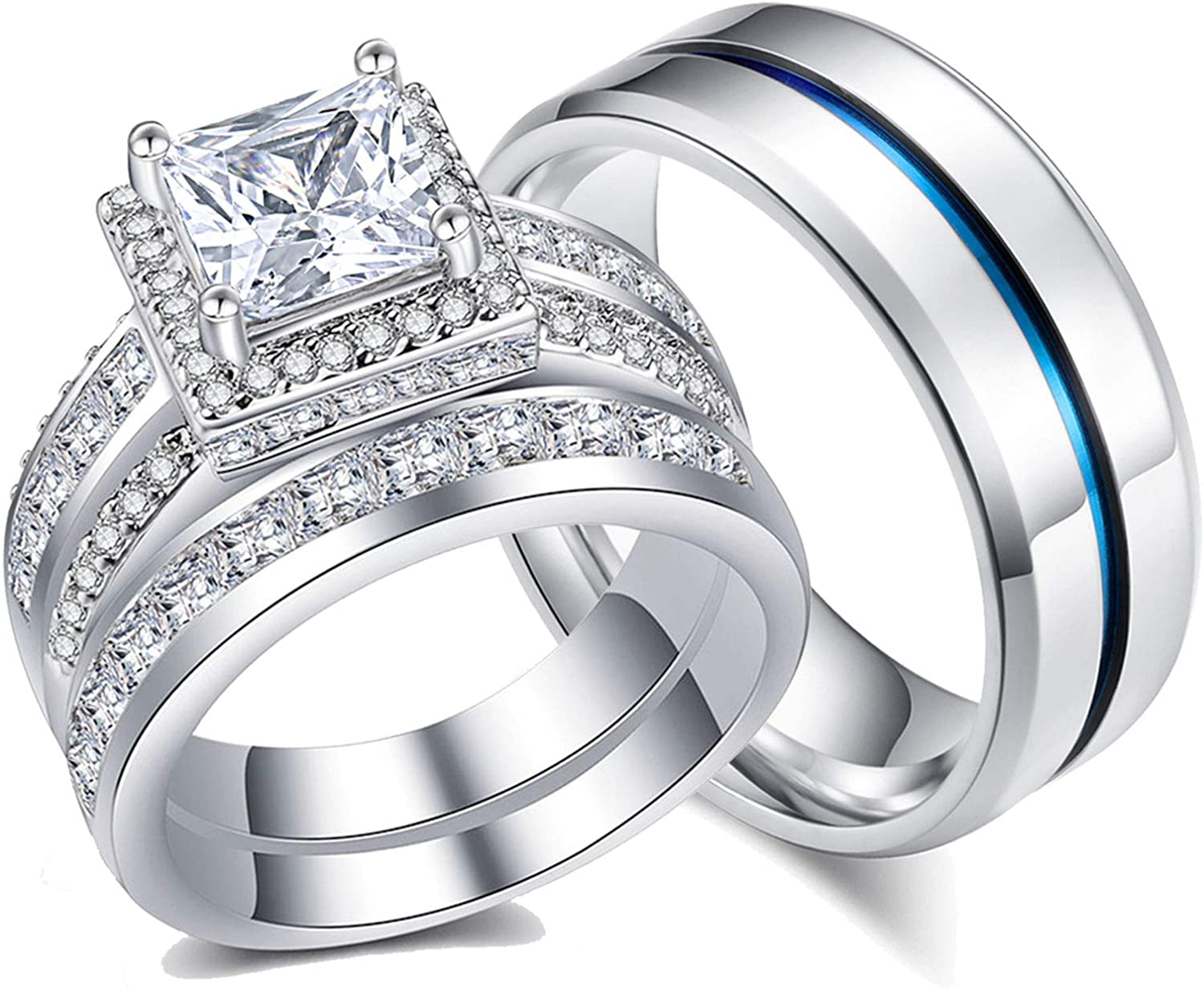 Ahloe Jewelry Princess Wedding Ring Sets for Him and Her Women Men Titanium Stainless Steel Bands 3.0Ct Cz 18k Gold Couple Rings