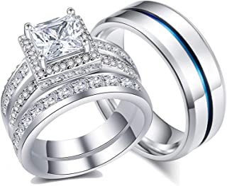 Ahloe Jewelry Princess Wedding Ring Sets for Him and Her Women Men Titanium Stainless Steel Bands 3.0Ct Cz 18k Gold Couple...