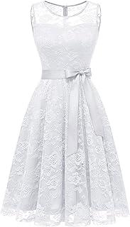 Dressystar Abendkleid Ärmellos Kurz Brautjungfern Kleid Spitzen Rundhals Damen Kleider