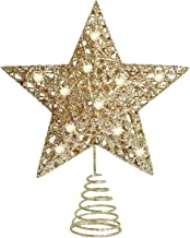 BAODAN Topo de árvore de Natal com luzes LED, prata/dourada brilhante para decorações de árvore de Natal