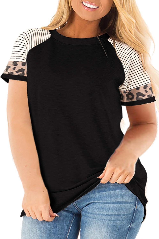 LANREMON Womens Plus Size Tops Leopard Tunic Tops Crewneck T Shirts Short Sleeve Color Block Blouse