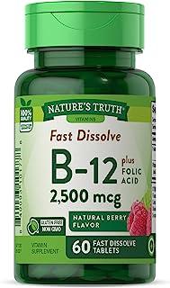 Nature's Truth B12 Vitamin | 60 Sublingual Tabs | 2500 Mcg | Vegetarian, Non-Gmo & Gluten Free | By