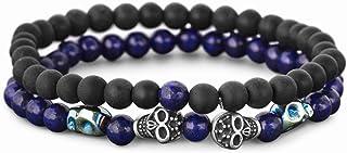 Steve Madden Stainless Steel Skull Blue Black Beaded Stackable Stretch Bracelet for Men