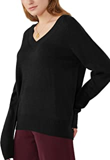 Woolicity Women's V Neck Sweater Long Sleeve Sexy Seamless Knit Pullover Lightweight Cozy Soft Loose Fitting Tops