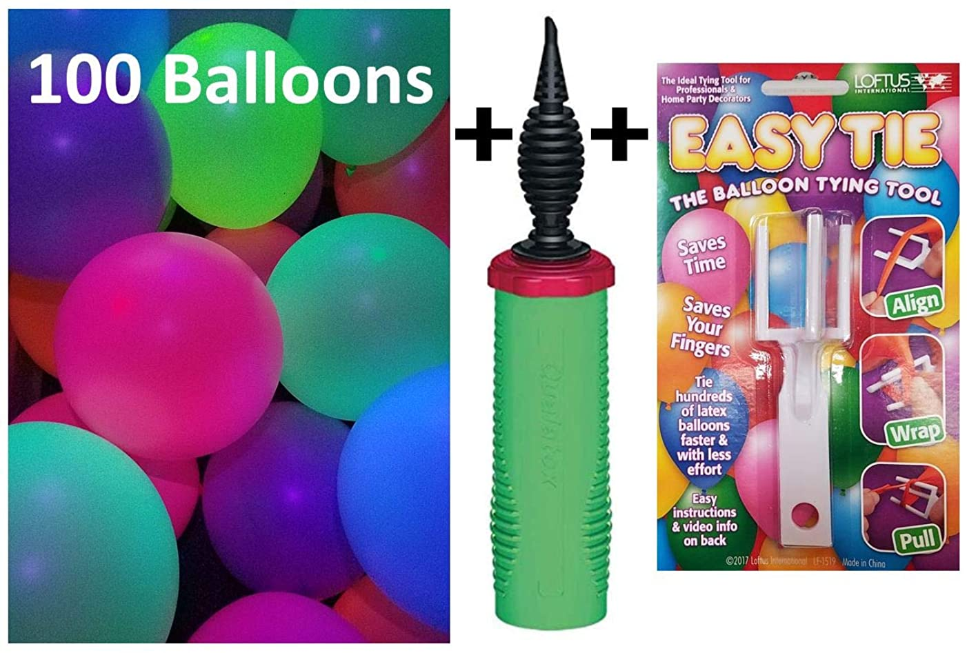 Glow in The Dark Party Supplies - 100 Blacklight Balloons, Balloon Pump, and Tying Tool (100 + Pump + Tie)