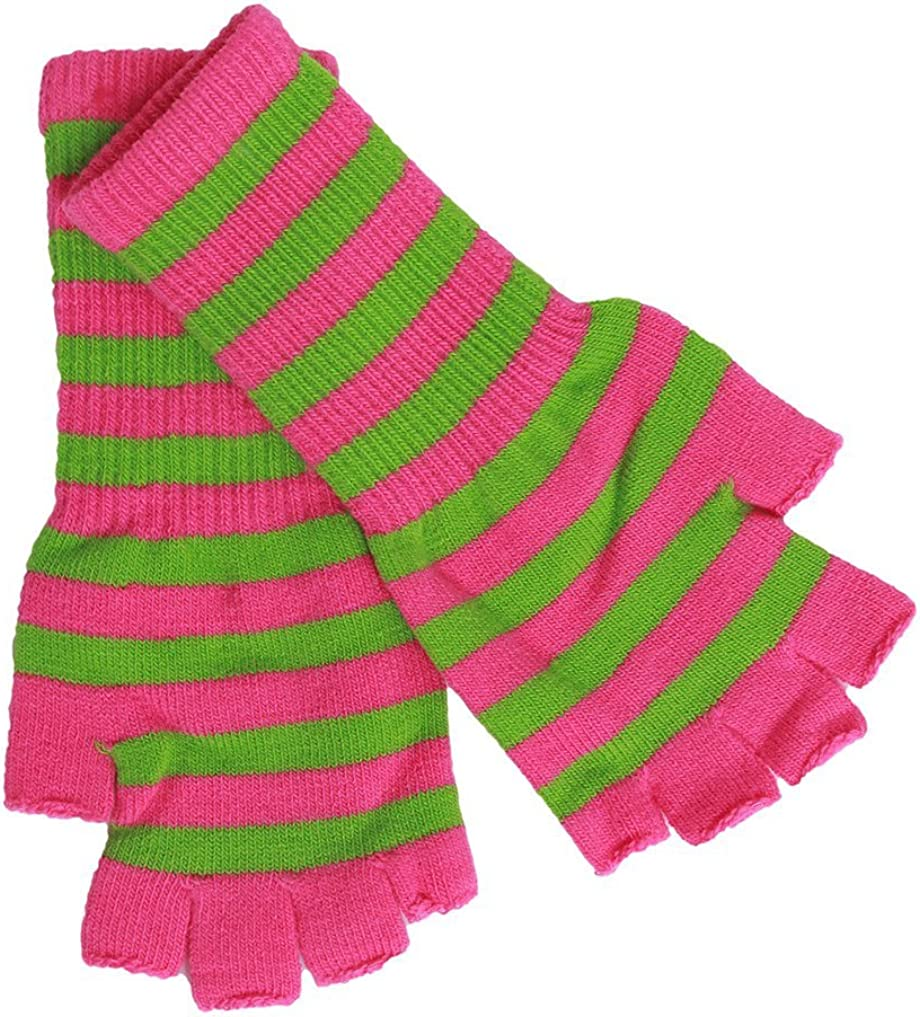 Cut-Off Fingerless Striped Gloves - Pink w/ Green