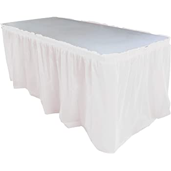 WHITE 29 X 14 Pleated Plastic Table Skirt Choose From 18 Color