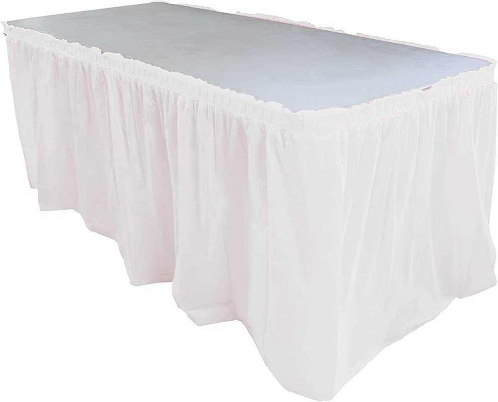 Exquisite Solid Color 14 Ft Plastic Tablecloth Skirt Disposable Plastic Tableskirts White 6 Count